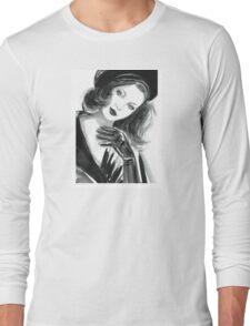 Portrait of beautiful  woman with long hair wearing a beret Long Sleeve T-Shirt