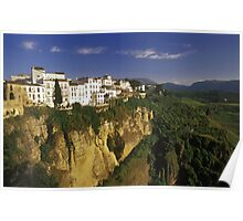 Houses on Cliff of El Tajo Gorge, Ronda, Spain  Poster