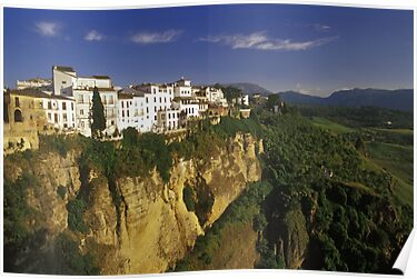 Houses on Cliff of El Tajo Gorge, Ronda, Spain  by Petr Svarc