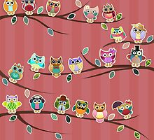 Cute Owls on Branches with Stripes by kennasato