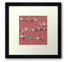 Cute Owls on Branches with Stripes Framed Print