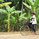 Cyclist in Vietnamese Countryside, Mekong Delta  by Petr Svarc