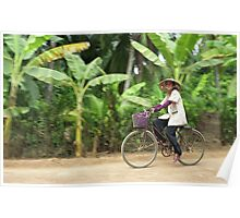 Cyclist in Vietnamese Countryside, Mekong Delta  Poster