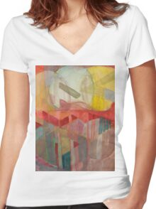 geo circle Women's Fitted V-Neck T-Shirt