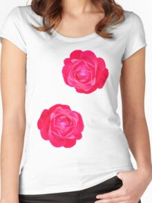 Two pink roses Women's Fitted Scoop T-Shirt