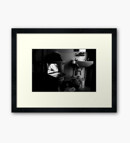bathroom laptop  Framed Print