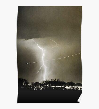 Lightning Strike - City Lights - Jett  II B&W Poster