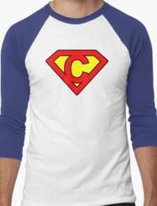 C letter in Superman style Men's Baseball ¾ T-Shirt