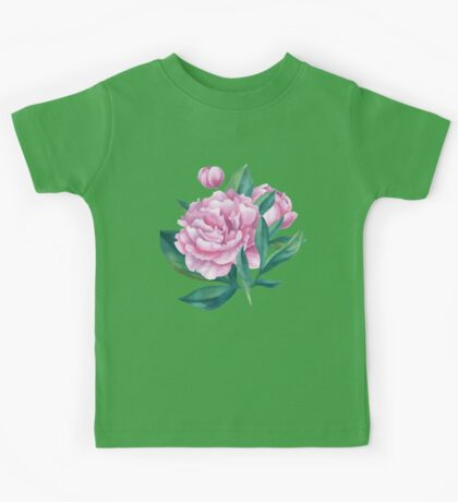Watercolor Peony Bouquet Kids Tee
