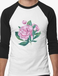 Watercolor Peony Bouquet Men's Baseball ¾ T-Shirt