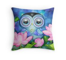 Owl in Lotus Pond Throw Pillow