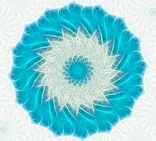 Cyan Glow Kaleidoscope 11 by Christopher Johnson