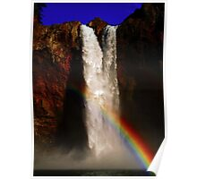 Snoqualmie Falls with Rainbow! Poster