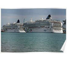 Ships at Miami Port Poster