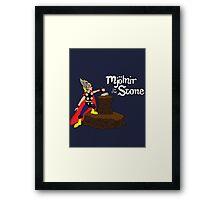 Mjolnir in the Stone (Comic Helmet Version) Framed Print