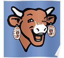The Laughing Cow Pop 2 - Brown on Blue Poster