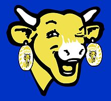 The Laughing Cow Pop 3 - Yellow  on Blue by peterpotamus