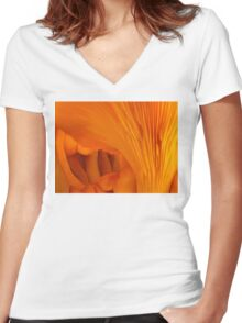 Orange Fungi Tunnel Of Love Women's Fitted V-Neck T-Shirt