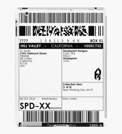 >Deliver to the McFly Residence iPad Case/Skin