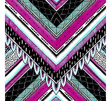 Pink & Turquoise Feather Pattern Photographic Print