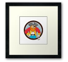 Captain Hook Pirate Circle Cartoon Framed Print