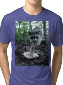 Wild Mushrooming Raccoon Tri-blend T-Shirt
