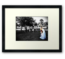 Throwing the bouquet Framed Print