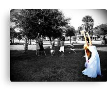 Throwing the bouquet Canvas Print