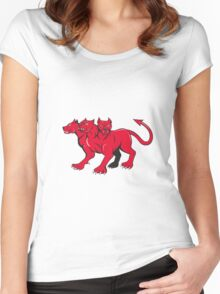 Cerberus Multi-headed Dog Hellhound Cartoon Women's Fitted Scoop T-Shirt