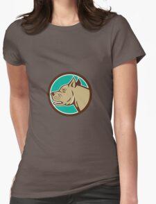 Mastiff Dog Mongrel Head Circle Cartoon Womens Fitted T-Shirt