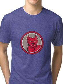 Pitbull Dog Mongrel Head Circle Cartoon Tri-blend T-Shirt