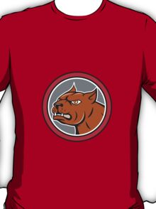Pitbull Dog Mongrel Head Circle Side Cartoon T-Shirt