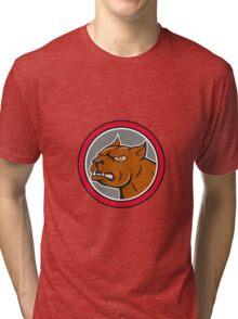 Pitbull Dog Mongrel Head Circle Side Cartoon Tri-blend T-Shirt