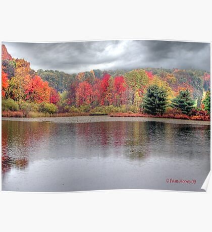 Fall Colors In The Rain in the Poconos - HDR Poster
