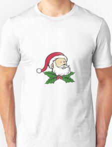 Santa Claus Father Head Christmas Holly Cartoon T-Shirt