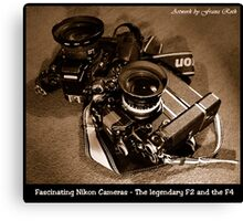 Fascinating Nikon Cameras - Sepia Version Canvas Print