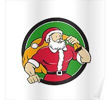 Super Santa Claus Carrying Sack Circle Cartoon Poster