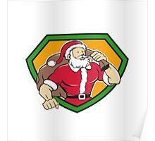 Super Santa Claus Carrying Sack Shield Cartoon Poster