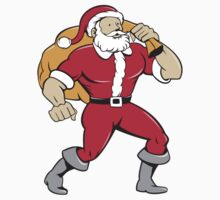 Super Santa Claus Carrying Sack Isolated Cartoon by patrimonio