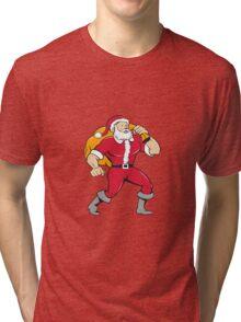 Super Santa Claus Carrying Sack Isolated Cartoon Tri-blend T-Shirt