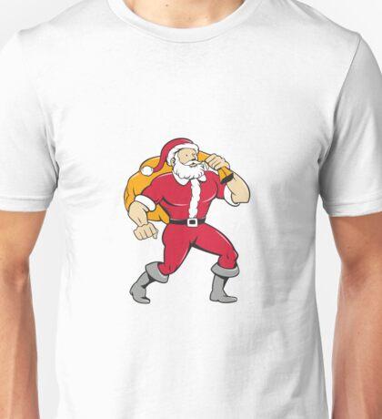 Super Santa Claus Carrying Sack Isolated Cartoon Unisex T-Shirt
