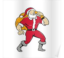 Super Santa Claus Carrying Sack Isolated Cartoon Poster