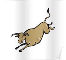 Texas Longhorn Bull Jumping Cartoon Poster