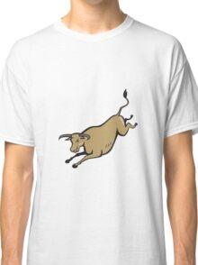 Texas Longhorn Bull Jumping Cartoon Classic T-Shirt
