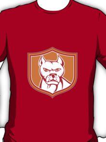 White Pitbull Dog Mongrel Head Shield Cartoon T-Shirt