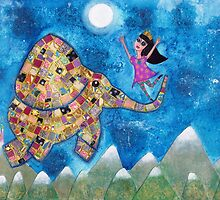 Missy and Elephant fly to the Moon by Melissa Underwood