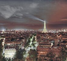 Paris from Arc de Triumph Night by Chetan R