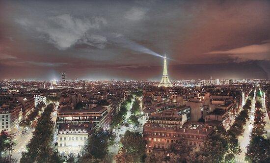 Paris from Arc de Triumph Night by Chetan R