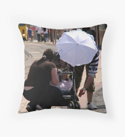 Darling! your new sunhat is scaring the baby! Throw Pillow