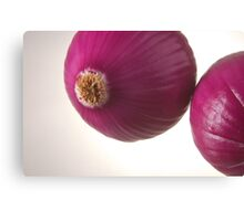 Two red onions over highlight Canvas Print